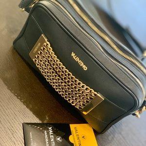Valentino Chain Black Leather Cross Body Bag.